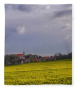 Fields Of Rapeseed In Bloom, Lower Fleece Blanket