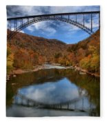 Fiery Colors At New River Gorge Bridge Fleece Blanket