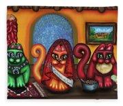 Fiesta Cats Or Gatos De Santa Fe Fleece Blanket