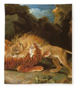 Fight Between A Lion And A Tiger, 1797 Fleece Blanket