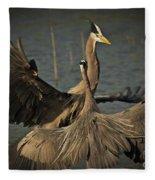 Fighting Great Blue Herons Fleece Blanket