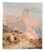Figures In A Village In The Dolomites Fleece Blanket