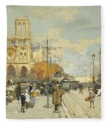 Figures On A Sunny Parisian Street Notre Dame At Left Fleece Blanket