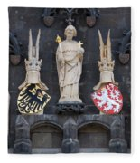 Figures On Staromestska Vez In Prague Fleece Blanket