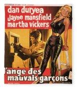 Film Noir Poster  The Burglar Jane Mansfield Fleece Blanket
