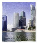 Financial District Of Singapore And View Of The Water Fleece Blanket