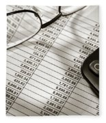 Financial Spreadsheet With Calculator And Glasses Fleece Blanket