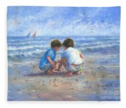Finding Sea Shells Brother And Sister Fleece Blanket