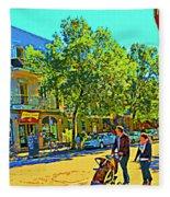 Fine Day For Baby Strollers And Bikes Art Of Montreal Street Scene Across Maitre Gourmet Cafe Fleece Blanket