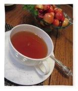 Fine Tea And Cherries Fleece Blanket