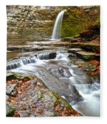 Finger Lakes Waterfall Fleece Blanket
