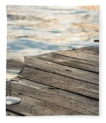 Finger Lakes Wine Tasting - Wine Glass On The Dock Fleece Blanket