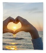 Fingers Heart Framing Ocean Sunset Fleece Blanket