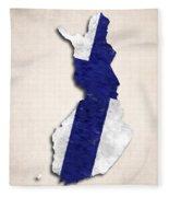 Finland Map Art With Flag Design Fleece Blanket