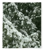 Fir Tree Branch Covered With Snow  Fleece Blanket