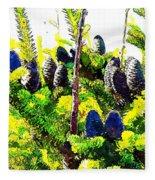 Fir Tree Buds Abstract Fleece Blanket