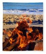 Fire At The Beach Fleece Blanket