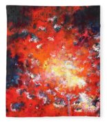 Fire Blazing In The Sky Fleece Blanket