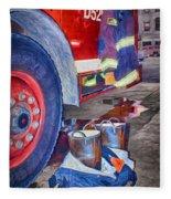 Fire Engine - Firemen - Equipment Fleece Blanket