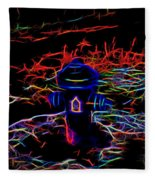 Fire Hydrant Bathed In Neon Fleece Blanket