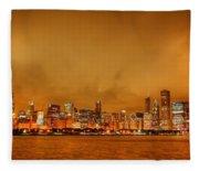 Fire In A Chicago Night Sky Fleece Blanket