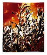 Fire In The Corn Field Fleece Blanket