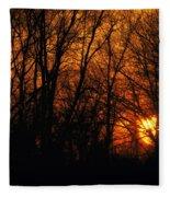 Fire In The Woods Sunset Fleece Blanket