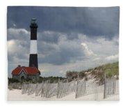 Fire Island Light From The Beach Fleece Blanket