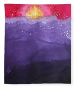 Fire On The Mountain Original Painting Fleece Blanket
