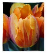 Fire Orange Tulip Flowers Fleece Blanket