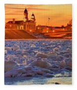 Fire Over The Clinton County Courthouse Fleece Blanket