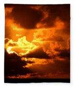Fire Over The Ocean Fleece Blanket