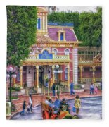 Fire Truck Main Street Disneyland Fleece Blanket