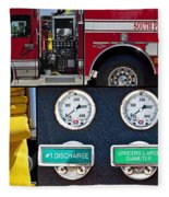 Fire Truck With Isolated Views Fleece Blanket