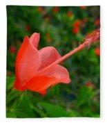 Firecraker Hibiscus Flower Fleece Blanket