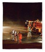 Firefighters At Work Fleece Blanket