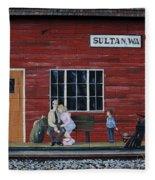 Train Station Mural Sultan Washington 3 Fleece Blanket