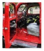 Fireman - Fire Truck With Fireman's Uniform Fleece Blanket