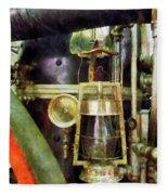 Fireman - Lantern On Fire Truck Fleece Blanket