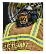 Fireman Turnout Gear Lieutenant Fleece Blanket