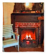 The Family Hearth - Fireplace Old Rocking Chair Fleece Blanket