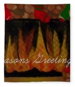 Fireplace - Seasons Greetings Fleece Blanket
