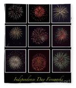 Fireworks - Black Background Fleece Blanket