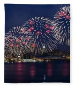 Fireworks And Full Moon Over New York City Fleece Blanket
