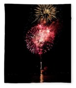 Fireworks Are Shot Off Over Lake Tahoe Fleece Blanket