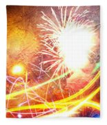 Fireworks As A Painting Fleece Blanket