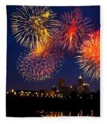 Fireworks In The City Fleece Blanket