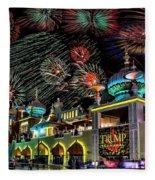 Fireworks Over Atlantic City Fleece Blanket