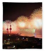 Fireworks Over Kuwait City Fleece Blanket