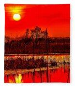 Firey Dawn Over The Marsh Fleece Blanket